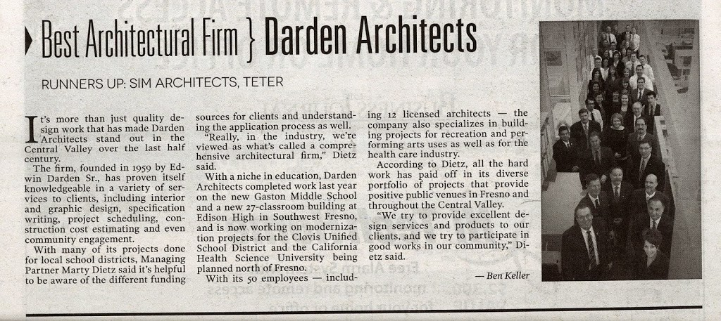 Darden Architects featured in The Central Valley Business Journal